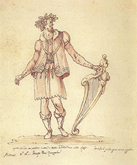 Jacopo Peri en costume de scène, par Bernardo Buontalenti, XVIe siècle