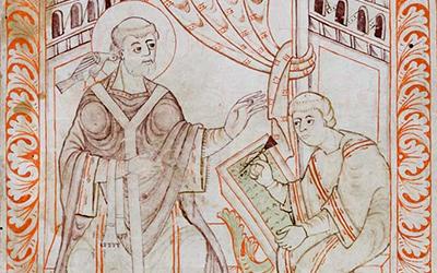 Le pape Grégoire I dictant les chants grégoriens, une colombe sur son épaule représentant l'inspiration divine
